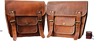 LBH 2 X Motorcycle Side Pouch Brown Leather Side Pouch Saddlebags Saddle Panniers (2 Bags) Pre Valentines Day Special Sale!