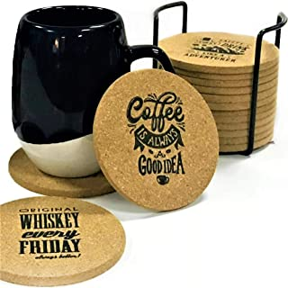 Cork Coasters for Drinks Absorbent with Holder - Unique 16 Pack Personalized Set Natural Round Drink Coaster - Protect Table or Bar Furniture from Spills - Reusable Heat Resistant and Eco Friendly