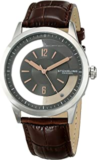 Stuhrling Original Winchester Men's Quartz Watch with Grey Dial Analogue Display and Brown Leather Strap 946.02