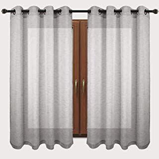 VOILYBIRD Vitoria Grey Linen Semi Sheer Grommet Curtains 63 inch Length, Country Curtains for Bedroom, 54''Wx63''L, Set of 2