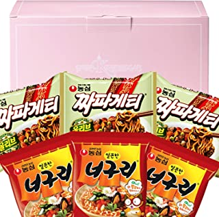 Parasite Noodles Ram-don Jjapaguri Chapagetti and Neoguri Combination 3 Pack Each Korean Ramen Black Bean Noodles in a PINKRISTMAS Gift Box