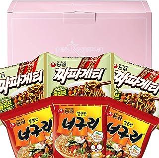 Parasite Noodles Ram-don Jjapaguri Chapagetti and Neoguri Combination 3 Pack Each Korean Ramen Black Bean Noodles in a PINKRISTMAS Gift Box