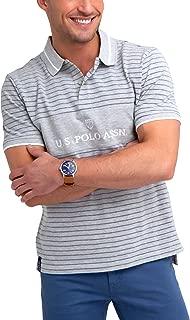 Mens Stripe Color Block Pique Polo Shirt
