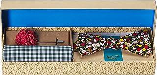 Original Penguin 男士流浪者三件套花卉领带,方形和翻领别针,*蓝,均码
