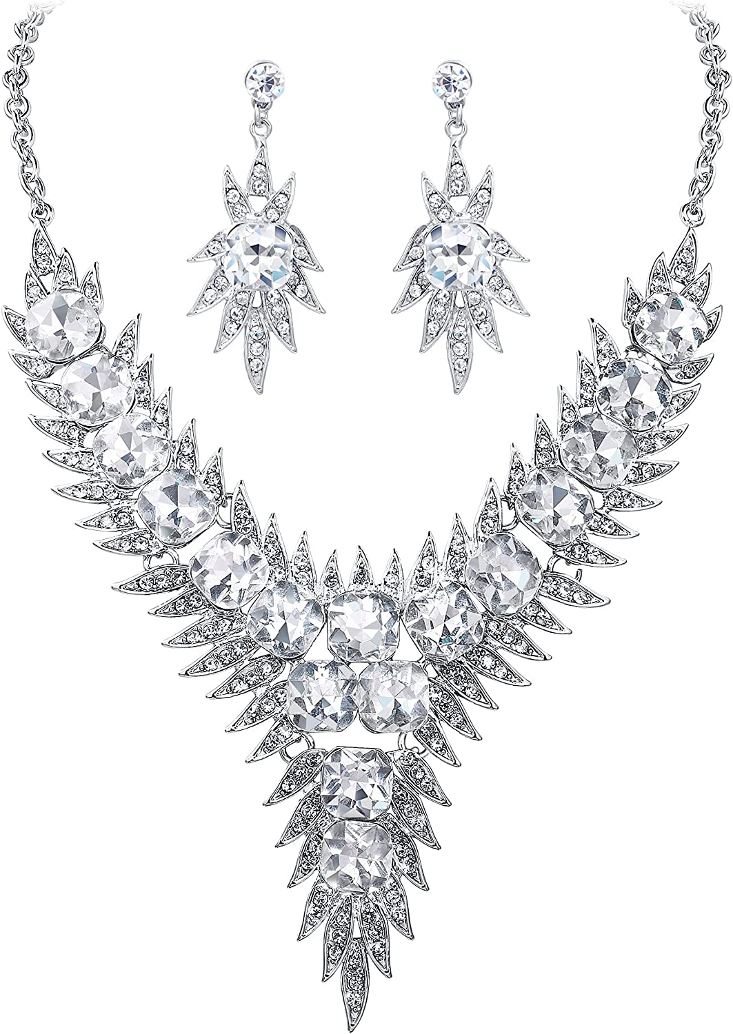 Crysdue Bridal Jewelry Set Austrian Crystal Gorgeous Wedding Necklace Dangle Earrings Set for Women Brides Bridesmaid, Floral Statement Y Shape Jewelry for Wedding Prom Party
