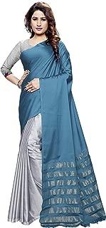Venisa Women's Half & Half Handloom Cotton Soft Silk Saree with Digital Printed Blouse Piece(Angarika_Sky Blue_Free Size)