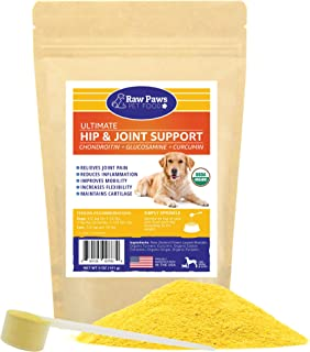 Raw Paws Hip and Joint Supplement for Dogs & Cats, Powder - New Zealand Green Lipped Mussel for Dogs - Pet Glucosamine Chondroitin for Dogs + Turmeric Curcumin, Anti Inflammatory for Dogs & Cats