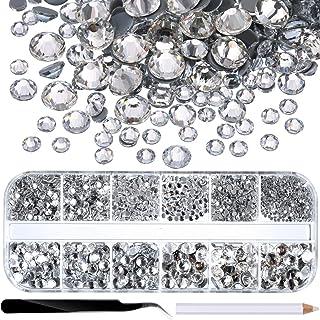 comprar comparacion 2000 Piezas de Diamantes de Imitación de Espalda Plana de Vidrio Hot Fix Gemas Cristales Redondas 1,5-6 MM (SS4-SS30) en C...