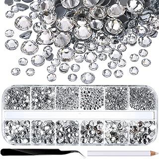 Jovitec 2000 Pieces Hot Fix Glass Flatback Rhinestones HotFix Round Crystal Gems 1.5-6 MM (SS4-SS30) in Storage Box with Tweezers and Picking Rhinestones Pen (Clear)
