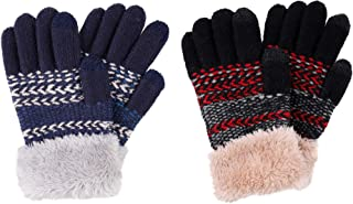 2 & 3 Pack Kids Touchscreen Winter Knit Gloves with Faux...