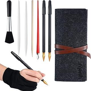 Outil d'Art de Peinture à Gratter, Kit Outils de Dessin à Gratter 9 Pièces, Comprend Gant d'Artiste, Sac à Outils, Stylos ...