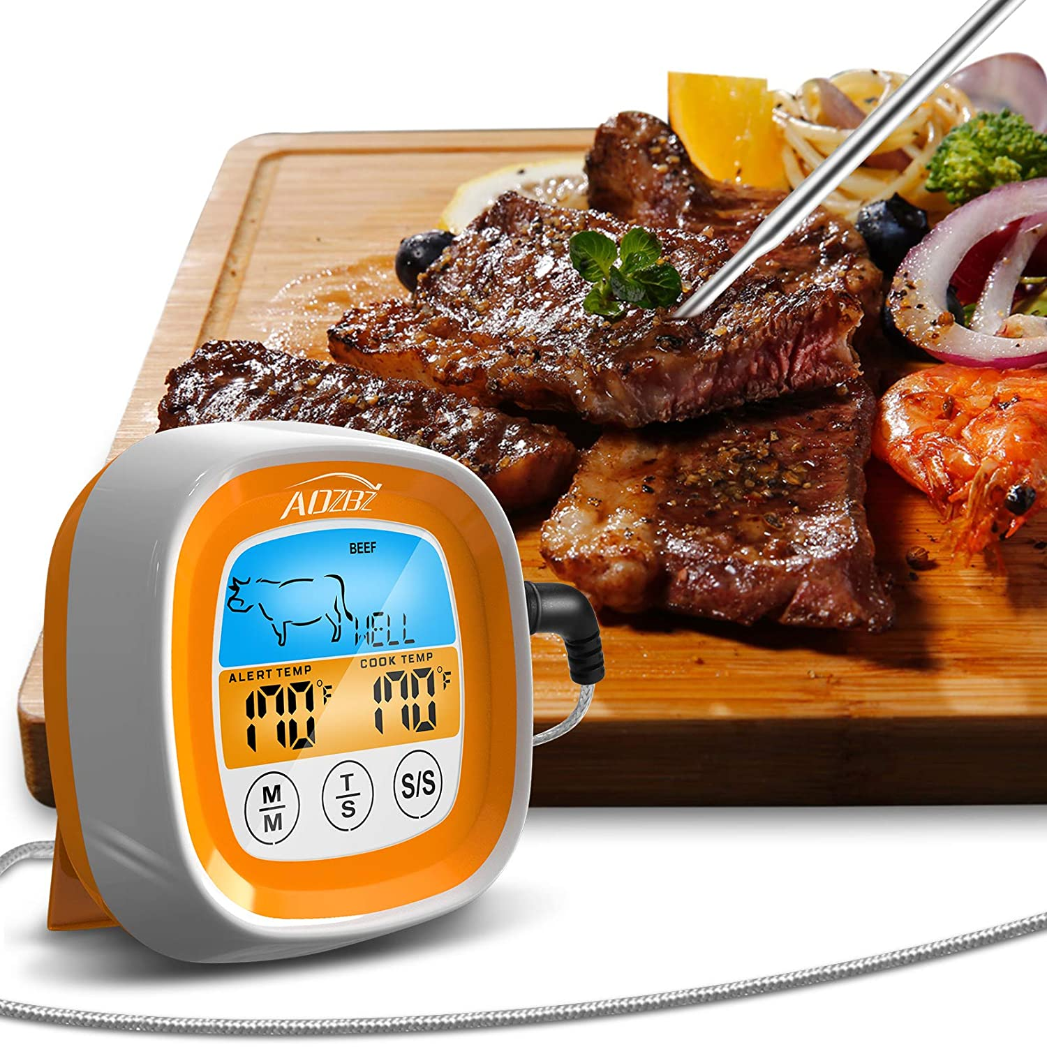 AOZBZ Instant Max 86% OFF Read Meat Thermometer Confectionery Fo for Many popular brands Smoked