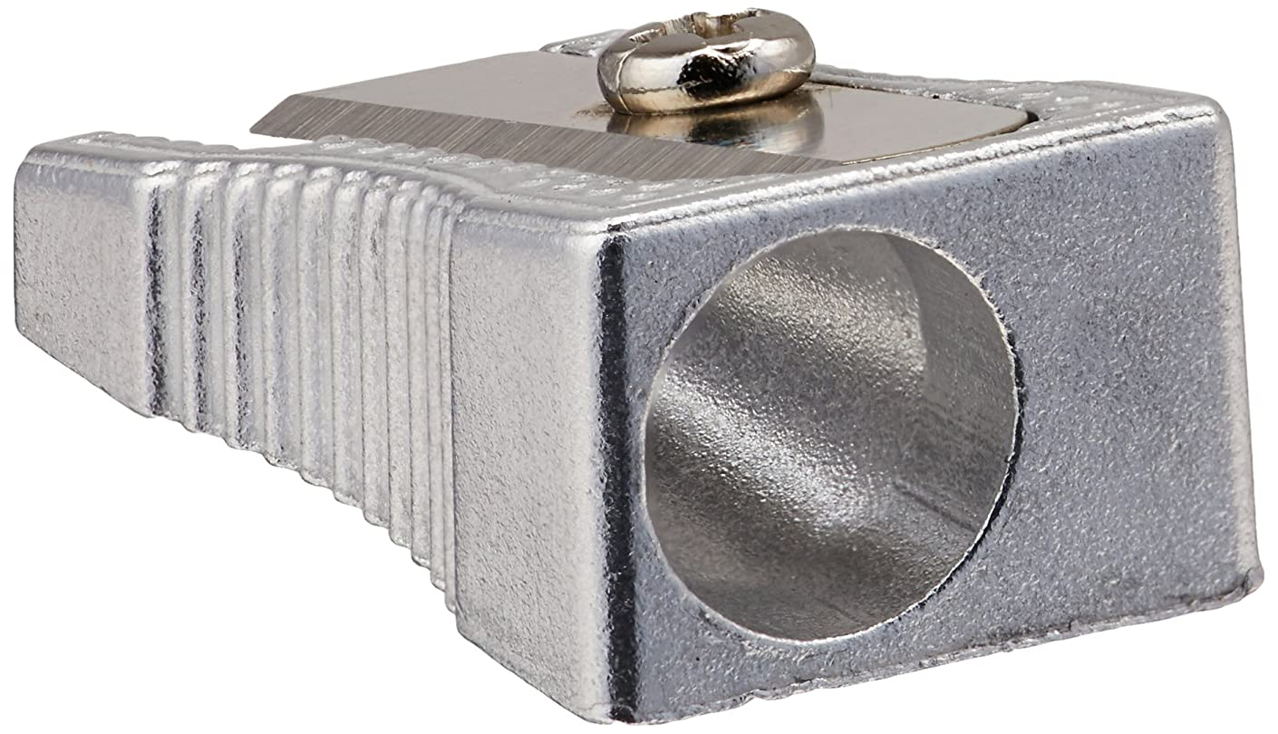 School Smart Aluminum Single Hole Hand Held Pencil Sharpener - Pack of 12 - Silver