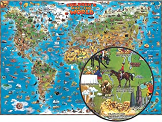 """Round World Products RWPDM001-A1 Children's Map of The World, 54"""" Width, 38"""" Length"""