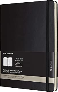 Moleskine PRO 12 Month 2020 Weekly Planner, Hard Cover, XL (7.5