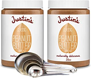 Justins Naturally Delicious Peanut Butter Spread - With Bonus Measuring Spoon Set (Classic - 2 Pack With Measuring Spoons)