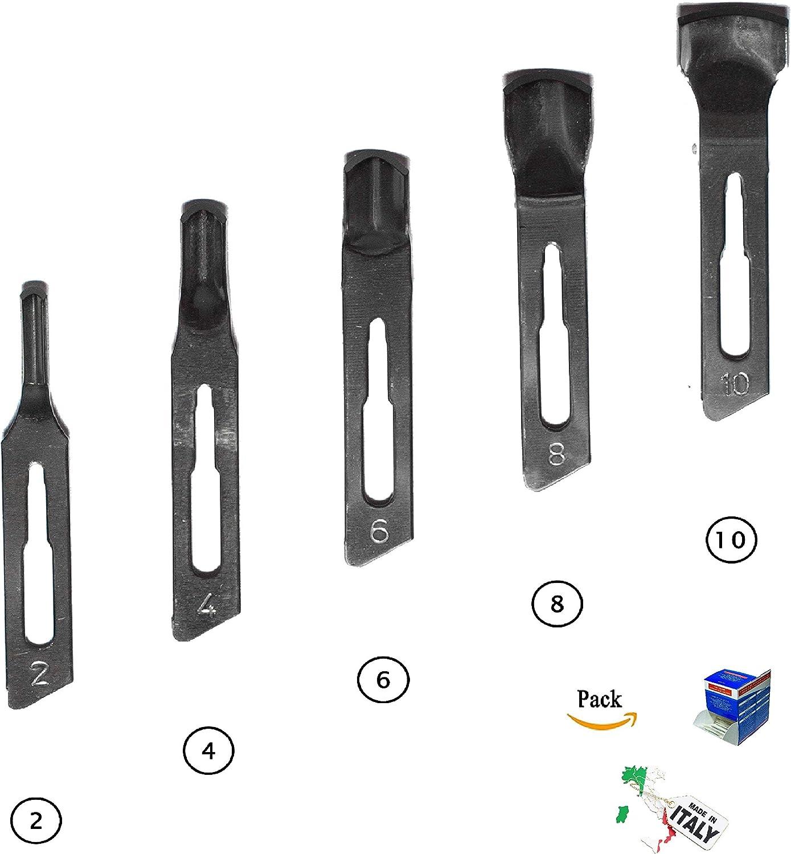 Kit recarga profesional 50 cuchillas acero inoxidable pedicura esteticista: kit cuchillas esterilizadas podología callos; cuchillas de repuesto de tamaño 2/4/6/8/10