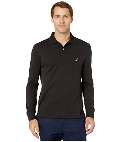 Nautica Long Sleeve Interlock Knit Polo (True Black) Men