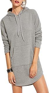 SweatyRocks Sweatshirt Dress Hoodie Pockets Grey Dress