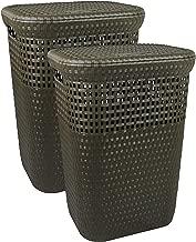 Spread Spain Laundry Basket with Lid/Bathroom Basket for Clothes/Multipurpose Big Size Basket for Home | 60 Lt (Brown Pcs)