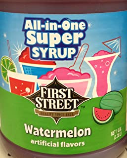 First Street All In One Super Syrup Watermelon 1 Gallon, For Snow Cone Beverage Base Fountain Syrup Slush Shaved Ice