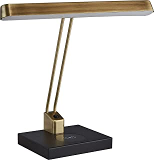 Stone & Beam Modern Wireless Charging Wide Task Table Desk Lamp With Integrated LED Light - 7 x 15.8 x 14.3 Inches, Matte Black & Antique Brass