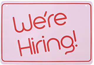 Hiring Sign - Friendly We're Hiring Sign - Help Wanted Sign for Business - Stand Out with This Pink, Lightweight, Washable PVC Hiring Sign for Window (8.25