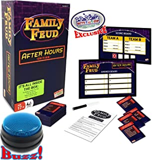 Family Feud After Hours Edition with Electronic Light-Up Blue 3 Mode Game Answer Buzzer and Count Down Timer - Matty's Toy Stop Exclusive!