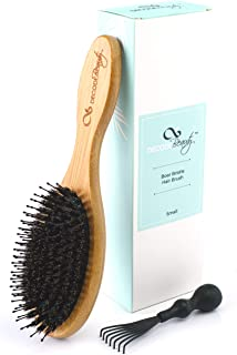Boar Bristle Hair Brush - Natural Boar Bristles Mixed with Nylon Pins - Medium Wood Handle - Easy to Detangle Long and Thick Hair - Add Natural Shine and Texture -Boar Brush For Men Women and Kids
