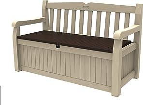 Keter Eden Garden Bench - Banco Arcón Exterior, Capacidad 265 L, Color Marrón y Beige