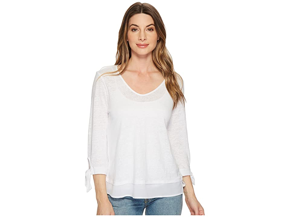 Sanctuary Sylvie Tie Sleeve Tee (White) Women's T Shirt