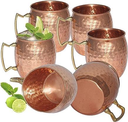 Preisvergleich für Zap Impex Reines Kupfer gehämmert Kupfer Moscow Mule Becher Ideal für Alle gekühlten Drink Bar oder Home großen Geschenk-Set von 6