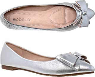 Women's Metallic Bow Ballet Flats Slip On Pointed Toe Shoes