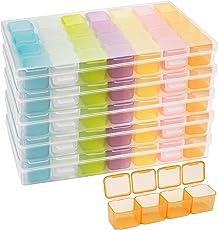 Belle Vous Plastic Diamond Dot Painting Opslag Doos met 28 Rasters (5 Pak) – Multigekleurde Organiser Dozen – Container Bak Set voor Hobby, Borduren, DIY Nagel Art, Sieraden, Kralen en Diamanten