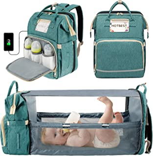 3 in 1 Diaper Bag Backpack with Changing Station for Baby Registry Search, Foldable Travel Crib Bed Waterproof Convertible...
