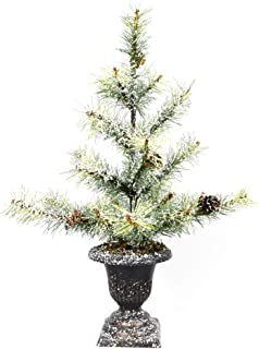 18'' Snow Frost Tabletop Mini Christmas Pine Tree with LED Lights (18inch Cedar Needle)