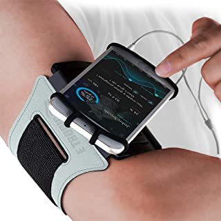 Sports Armband: Rotatable Running Phone Arm Band Holder Case Fits All Phones & Arm Sizes. Runners High Visibility Safety Gear Cell Holder Band Case. Vis Strap for Jogging Cycling Walking (Reflective)