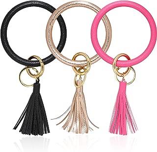 Bangle Key Ring Key Chain Wristlet Keychain Keyrings Round Durable Bracelet Keychain Holder for Women Girls