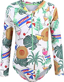 Girls Rash Guard Long Sleeve One Piece Swimsuits Stripes Zipper Bathing Suits UPF 50+/Sun Protection