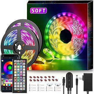 50Ft LED Strip Lights Music Sync Color Changing RGB LED...
