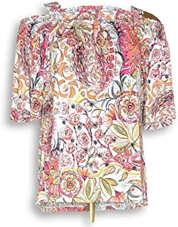 Susan Graver Women's Top Size S Print Liquid Knit Off-The- Shoulders Pink A306502