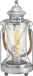 Eglo Bradford - Lámpara de mesa (1 foco, estilo vintage, acero, color plateado envejecido, vidrio: transparente, casquillo E27, incluye interruptor)