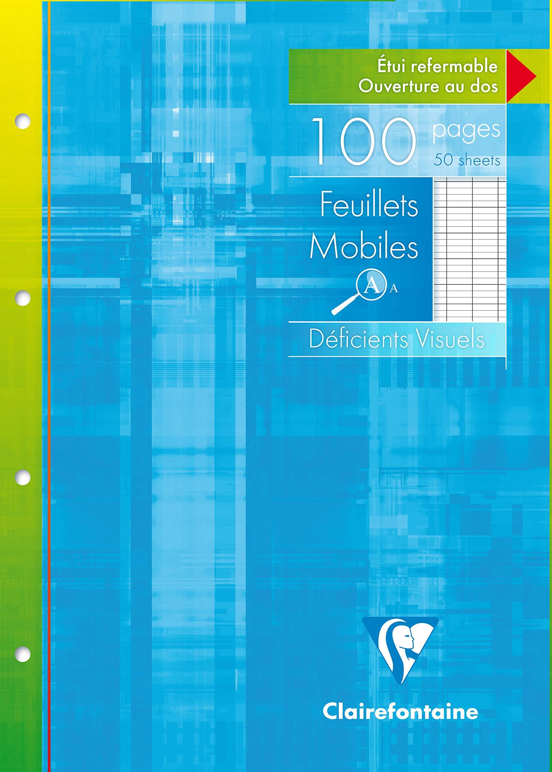 Clairefontaine 17499C - Pack de 50 Hojas Simples A4 para Discapacitados Visuales rayado francés (Séyès 2,5 - Ampliado 10x10) de 100 páginas: Amazon.es: Oficina y papelería