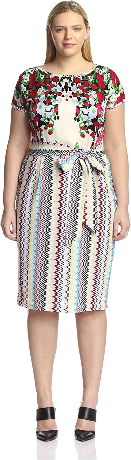 Melissa Masse Plus Women's Mix Print Dress