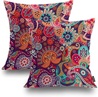 Shrahala Set of 2 Indian Ethnic Series Colorful Red Decorative Throw Pillow Cover Paisley Patchwork Floral Cushion Case for Sofa Bedroom Car Throw Pillow Case Cushion, Square 18 Inches, Red Paisley