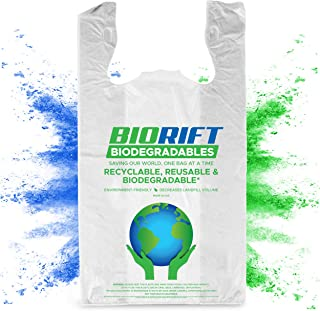 BioRift Eco Friendly T-Shirt Grocery Bags | 100% Biodegradable | Certified ASTM D5511 Thank You Shopping Bags with Handles...