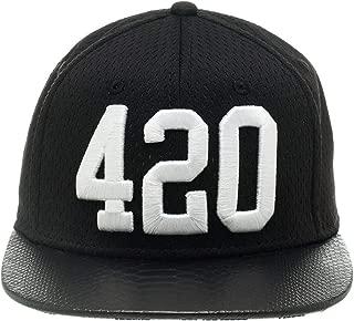 Bioworld Men's Licensed 420 Jersey Crown with Snakeskin Brim Snapback Hat O/S Black/White