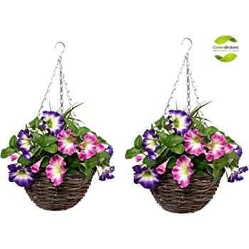 GreenBrokers Hanging Baskets 2X Artificial Round Rattan Purple /& White Petunias and Decorative Grasses Set of 2