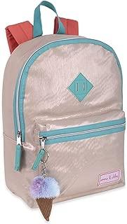 Emma & Chloe Reflective Metallic Shimmer Backpack for Girls & Women with Ice Cream Pom Pom Decoration (Sandy Gold)
