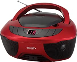 Jensen CD-475R Portable Sport Stereo Boombox CD Player with AM/FM Radio and Aux Line-in & Headphone Jack (Red)